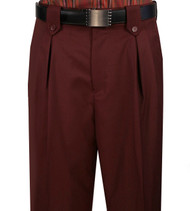 Veronesi 100% Wool Wide-Legged Slacks - Burgundy
