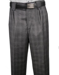 Veronesi 100% Wool Wide-Legged Slacks- Grey Windowpane