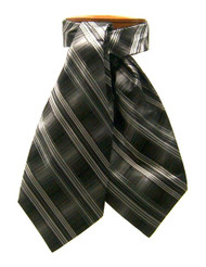 Antonio Ricci 100% Silk Ascot - Multi Stripe Charcoal Design