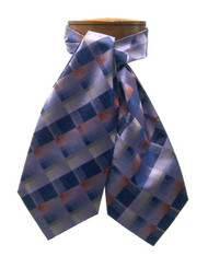 Antonio Ricci 100% Silk Ascot - Lavender & Blue Plaid