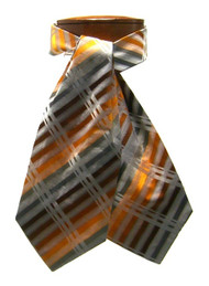 Antonio Ricci 100% Silk Ascot - Copper & Grey Dashes