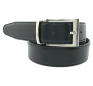 Black Reversible 35mm Leather Belt - Reverse side Dark Brown