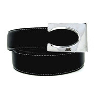 Contrasting Stitch Reversible 35mm Leather Belt - Black Reverse Dark Brown