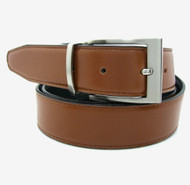 Cognac Reversible 35mm Leather Belt - Reverse side Black