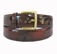 Tennis Themed Men's Leather Belt - Burnish Rust