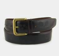 Tennis Themed Men's Leather Belt - Burgundy