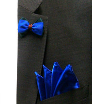 Antonio Ricci Fashion Mini Bow Tie Lapel Pin & Pocket Square - Royal