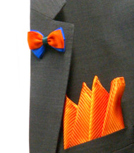 Antonio Ricci Fashion Mini Bow Tie Lapel Pin & Pocket Square - Orange & Royal