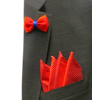 Antonio Ricci Fashion Mini Bow Tie Lapel Pin & Pocket Square - Red