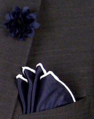 Antonio Ricci Fashion Rose Lapel Pin & Pocket Square - Navy and White