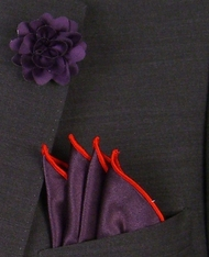 Antonio Ricci Fashion Rose Lapel Pin & Pocket Square - Purple and Red