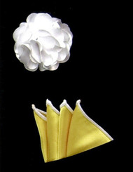 Antonio Ricci Fashion Rose Lapel Pin & Pocket Square - Yellow and White