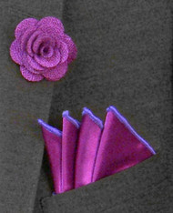 Antonio Ricci Fashion Rose Lapel Pin & Pocket Square - Purple and Lavender