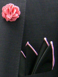 Antonio Ricci Fashion Rose Lapel Pin & Pocket Square - Pink and Black