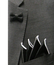 Antonio Ricci Fashion Mini Bow Tie Lapel Pin & Pocket Square - Black & White