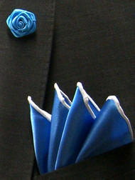 Antonio Ricci Fashion Rose Lapel Pin & Pocket Square - Blue & White