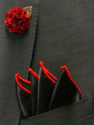 Antonio Ricci Fashion Flower Lapel Pin & Pocket Square - Black & Red
