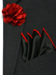 Antonio Ricci Fashion Flower Lapel Pin & Pocket Square - Red on Black