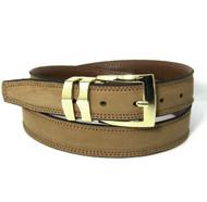 Double Stitched Genuine Nubuck Leather 30mm Belt -Buckskin Tan