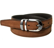 Double Stitched Genuine Nubuck Leather 30mm Belt - Cognac