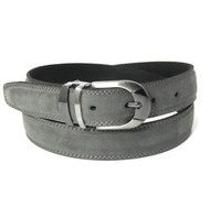 Double Stitched Genuine Nubuck Leather 30mm Belt - Grey