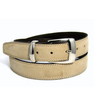 Double Stitched Genuine Nubuck Leather 30mm Belt - Bone