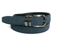 Genuine Suede Leather 30mm Belt with Silver Buckle - Indigo Blue