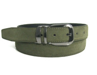 Genuine Suede Leather 30mm Belt with Silver Buckle - Olive