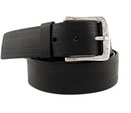 40mm - Bellissimo Genuine Full Grain Leather Belt - Black Greek Key Pattern
