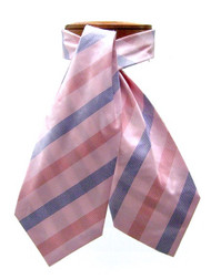 Antonio Ricci 100% Silk Ascot - Large Blue Stripes on Pink
