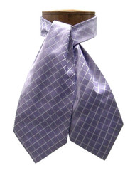 Antonio Ricci 100% Silk Ascot - Purple Diamond Pattern