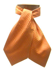 Antonio Ricci 100% Silk Ascot - Orange Stripe Pattern