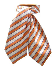 Antonio Ricci 100% Silk Ascot - Orange & White Stripe Pattern