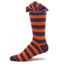 Antonio Ricci Premium Cotton Dress Socks - Purple & Orange Stripes