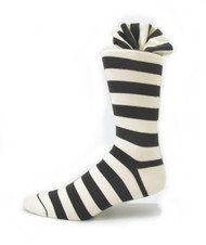 Antonio Ricci Premium Cotton Dress Socks - Dark Brown & Ivory Stripes