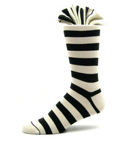 Antonio Ricci Premium Cotton Dress Socks - Black & Ivory Stripes