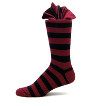Antonio Ricci Premium Cotton Dress Socks - Black & Burgundy Stripes
