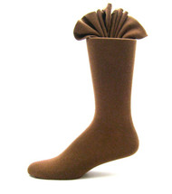 Antonio Ricci Premium Cotton Mid-Calf Dress Socks - Medium Brown