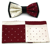 Antonio Ricci Fancy Two-Tone Bow Tie & Pocket Square - Cranberry & Cream