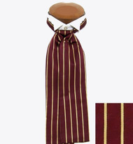 Formal 100% Woven Silk Ascot - Burgundy Tone with Gold