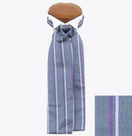 Formal 100% Woven Silk Ascot - Grey, Lavender and White
