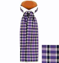 Formal 100% Woven Silk Ascot - Purple, Black and White