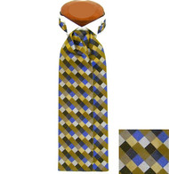 Formal 100% Woven Silk Ascot - Tan, Gold and Blue