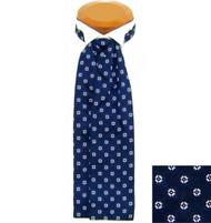 Formal 100% Woven Silk Ascot - Blue & White