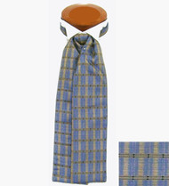 Formal 100% Woven Silk Ascot - Blue and Ecru Tone