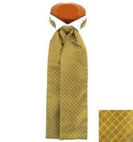Formal 100% Woven Silk Ascot - Gold Tone