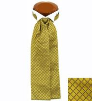 Formal 100% Woven Silk Ascot - Gold