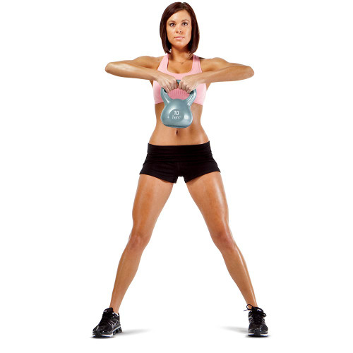 Hers 30 Lbs Kettlebell Weight Set VKBS-30 in use