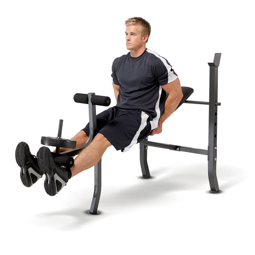 The Marcy Weight Bench 80lb Weight Set MD-2080 in use - leg extensions