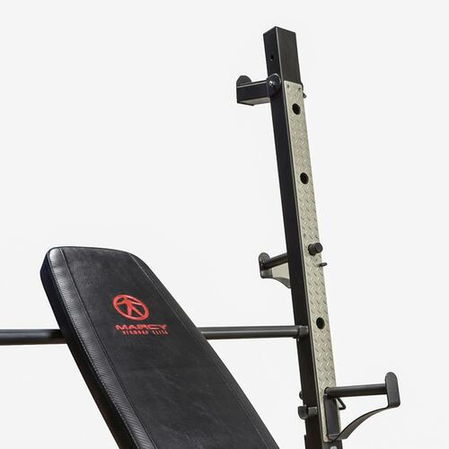 The Marcy Olympic Weight Bench MD-857 has bar catches on the pack of the post allowing you to do squats